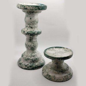 Ceramic Pillar Candle Holders set green bubble